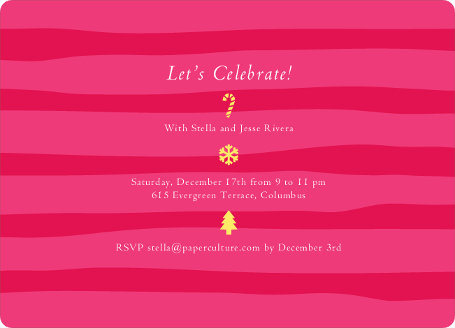 Striped Icons Holiday Invitations - Shocking Pink