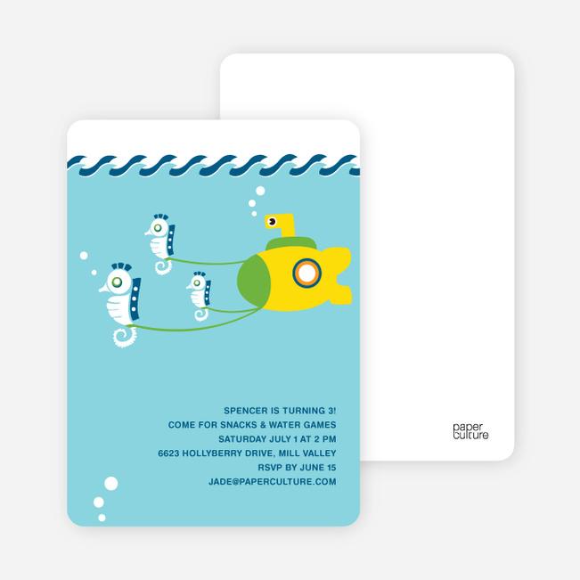 Seahorses & Submarine Invitation - Light Blue
