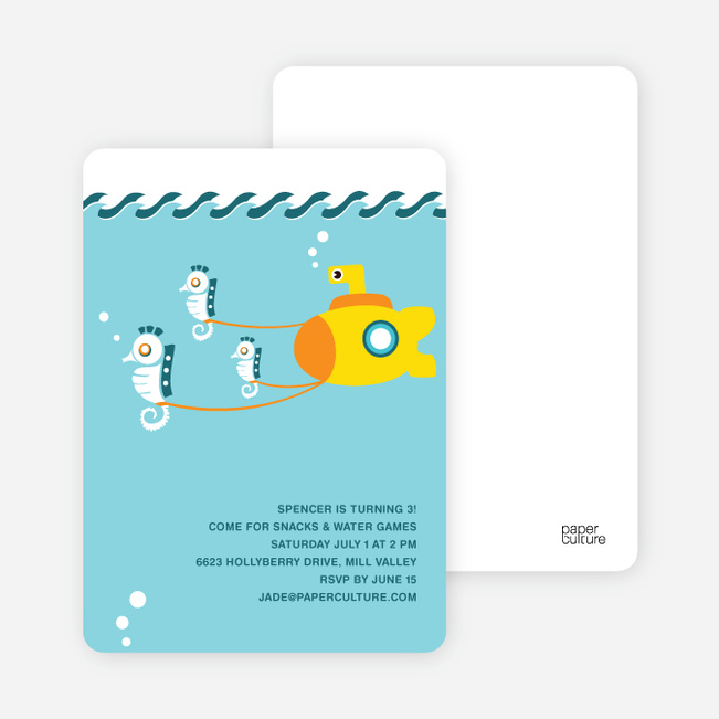 Seahorses & Submarine Invitation - Light Blue