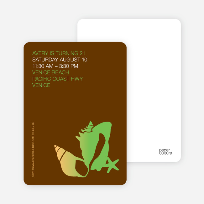Seashell and Beach Party Invitations - Apple Green