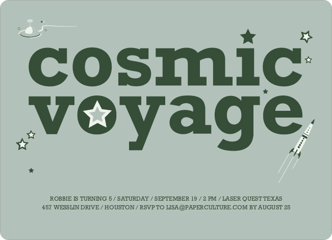 Cosmic Space Voyage Invitation - Forest Green