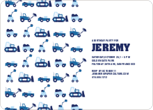 Dump Truck, Forklift & Bulldozer Birthday Invitation - Navy Blue