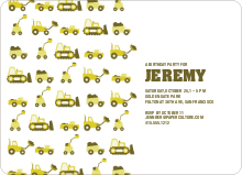 Dump Truck, Forklift & Bulldozer Birthday Invitation - Olive Green