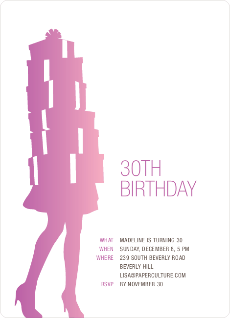 Shopaholic Grown Up Birthday Invitations - Orchid