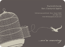 Flown the Coop Moving Announcement and Housewarming Invite - Warm Grey