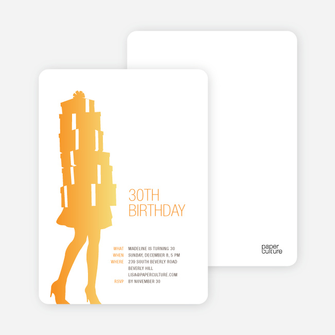 Shopaholic Grown Up Birthday Invitations - Sunrise Orange