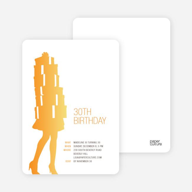 Shopaholic Grown Up Birthday Invitations - Sunrise Orange