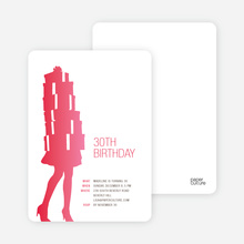Shopaholic Grown Up Birthday Invitations - Pinkish Red