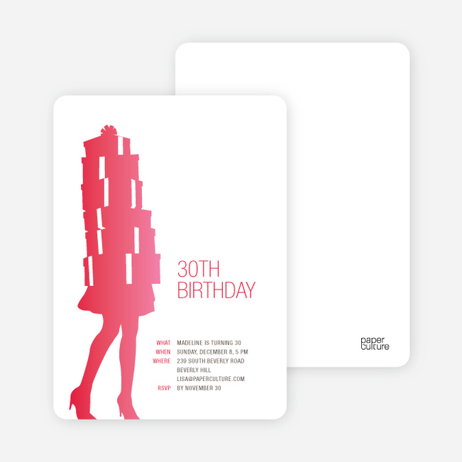 Shopaholic Grown Up Birthday Invitations - Pinkish Red
