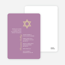 Simple Star of David Bar and Bat Mitzvah Invitations - Lilac