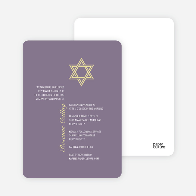 Simple Star of David Bar and Bat Mitzvah Invitations - Light Eggplant