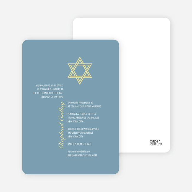 Simple Star of David Bar and Bat Mitzvah Invitations - Periwinkle
