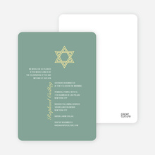 Simple Star of David Bar and Bat Mitzvah Invitations - Celadon