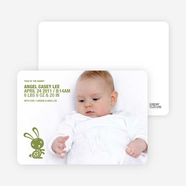 Simply Rabbit Photo Birth Announcements - Brussel Sprout
