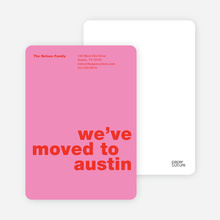 Simply Text Minimalist Moving Announcements - Hot Pink
