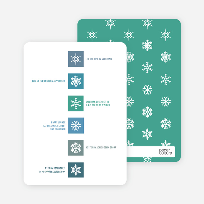 Snowflake Blocks Holiday Invitations - Arctic Blue