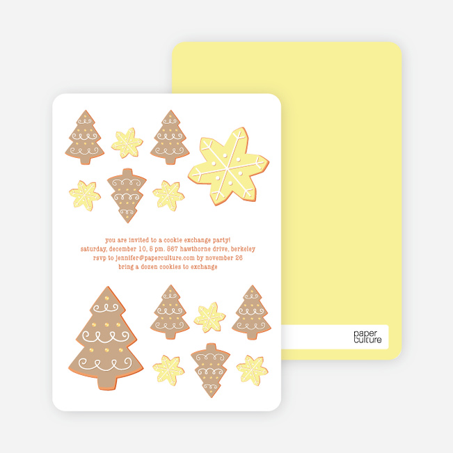 Snowflake Cookie Holiday Invitation - Ginger
