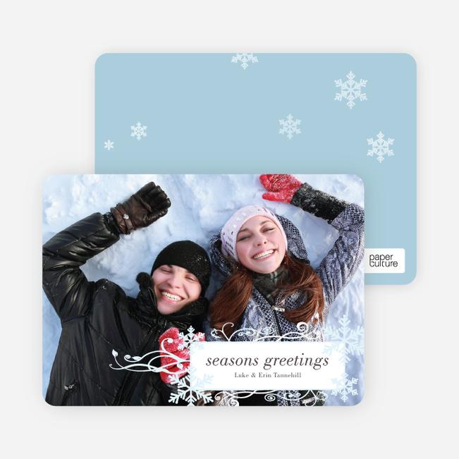 Snowflake Flourish Holiday Photo Cards - White