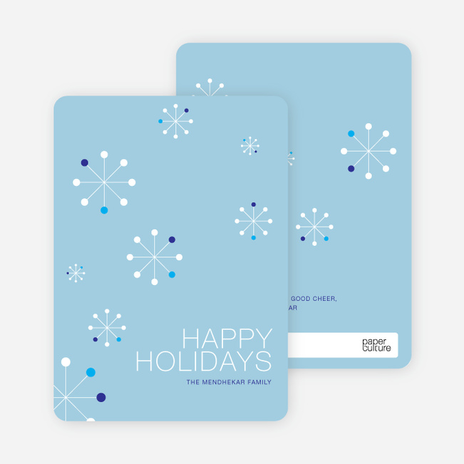 Snowflake Themed Holiday Cards - Celestial Blue