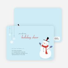 Snowman Cheer Holiday Invitation - Mystic Blue