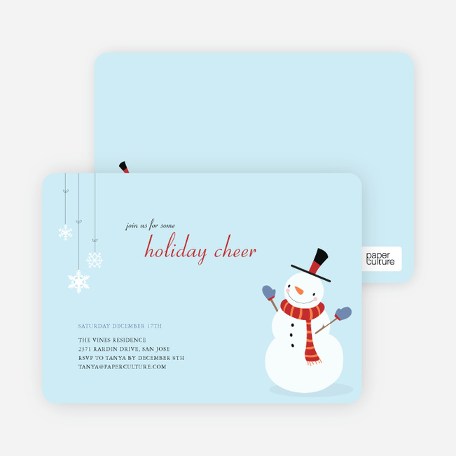 Snowman Cheer Holiday Invitation - Mystic Blue