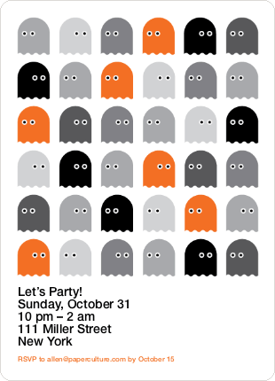 Not so Scary Ghost Halloween Invitations - Orange