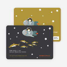 Spaceships and Dolphins Modern Birthday Invitation - Dark Charcoal