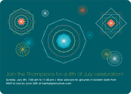 Spirograph Fireworks Party Invitations - Teal