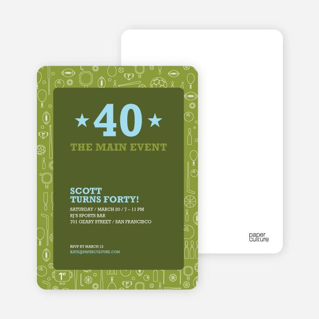 Sports Mania Party Invitations - Khaki Green