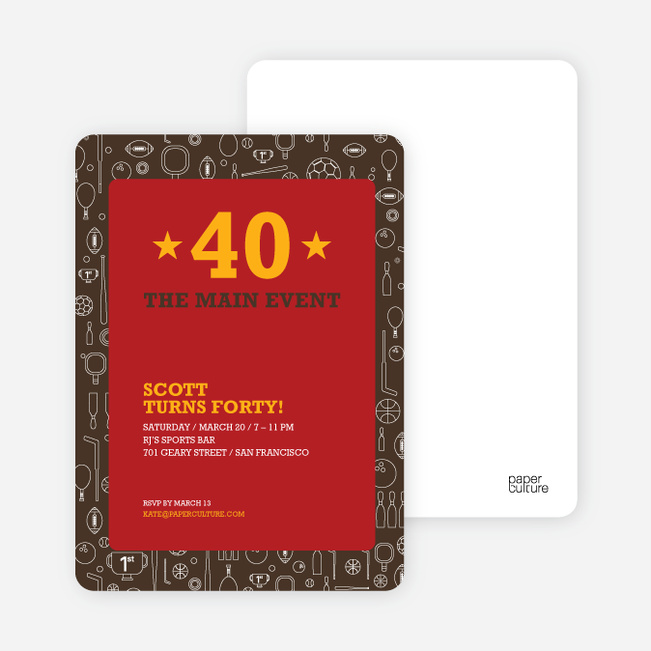 Sports Mania Party Invitations - Brick Red