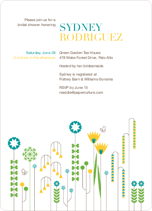 Spring Beauty Flower Bridal Shower Invitations - Teal