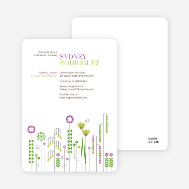 Spring Beauty Flower Bridal Shower Invitations - Magenta