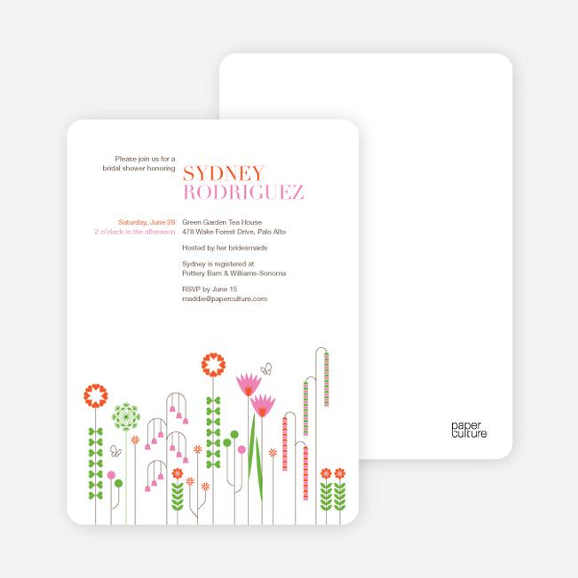 Spring Beauty Flower Bridal Shower Invitations - Persimmon Orange