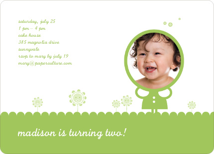 Spring Flowers Photo Birthday Party Invitation - Apple Green