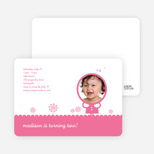Spring Flowers Photo Birthday Party Invitation - Cotton Candy Pink