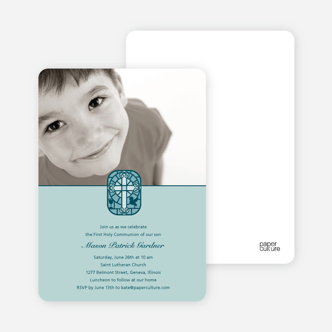 Stained Glass Photo Card for First Holy Communion Invitations - Sage Green