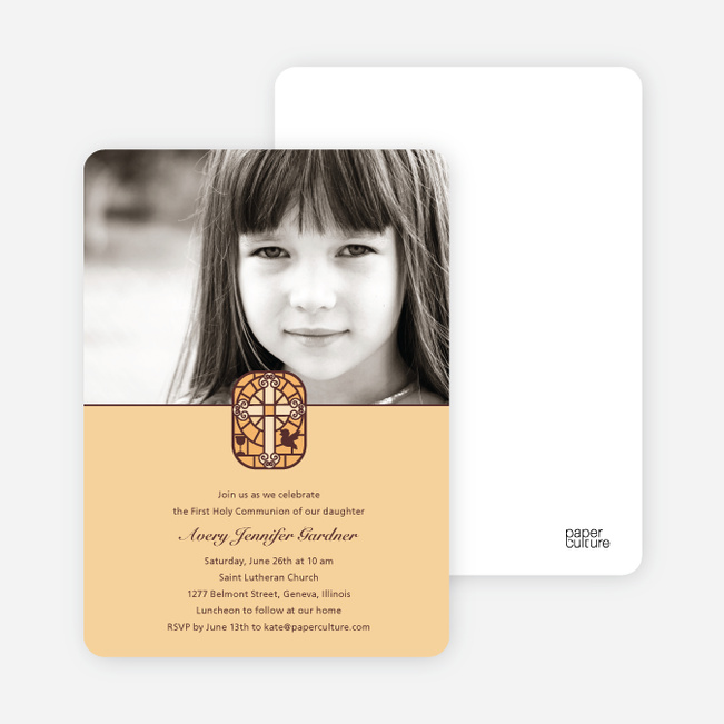 Stained Glass Photo Card for First Holy Communion Invitations - Golden Yellow