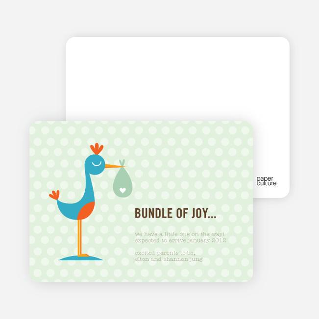Stanley the Stork Pregnancy Announcement Cards - Lime Salt