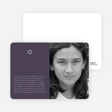 Star of David Bar and Bat Mitzvah Photo Invitations - Light Eggplant