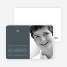 Star of David Bar and Bat Mitzvah Photo Invitations - Slate Blue