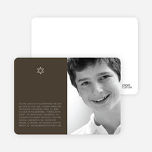Star of David Bar and Bat Mitzvah Photo Invitations - Cocoa Brown