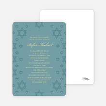 Star of David Border Bar and Bat Mitzvah Invitations - Teal