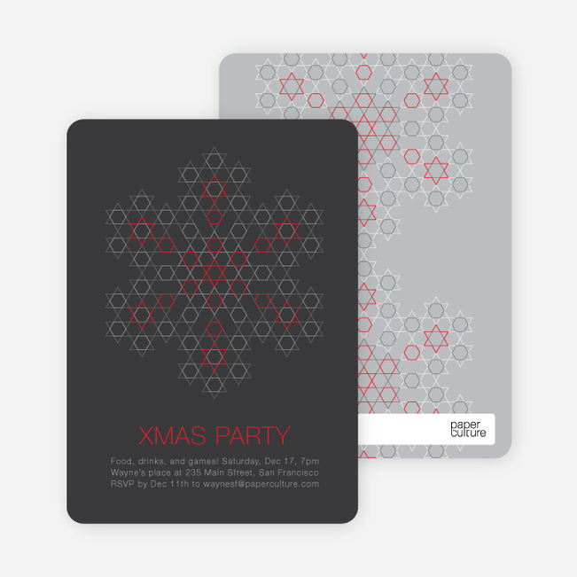 Starred Snowflake Holiday Invitations - Charcoal