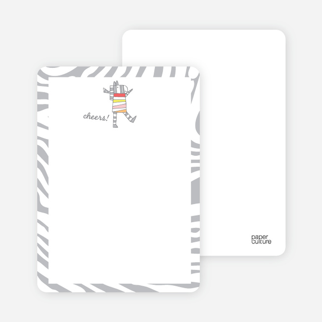 Stationery Featuring a Zebra Saying Cheers - Silver Stripe