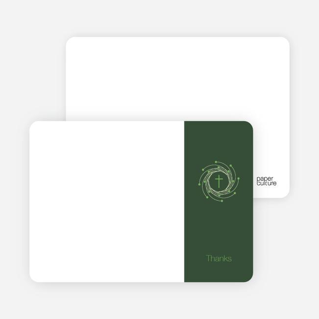 Stationery: 'Holiday Baptism Invitation' cards. - Light Green