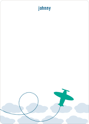Stationery: 'Modern Airplane' cards. - Azure Blue
