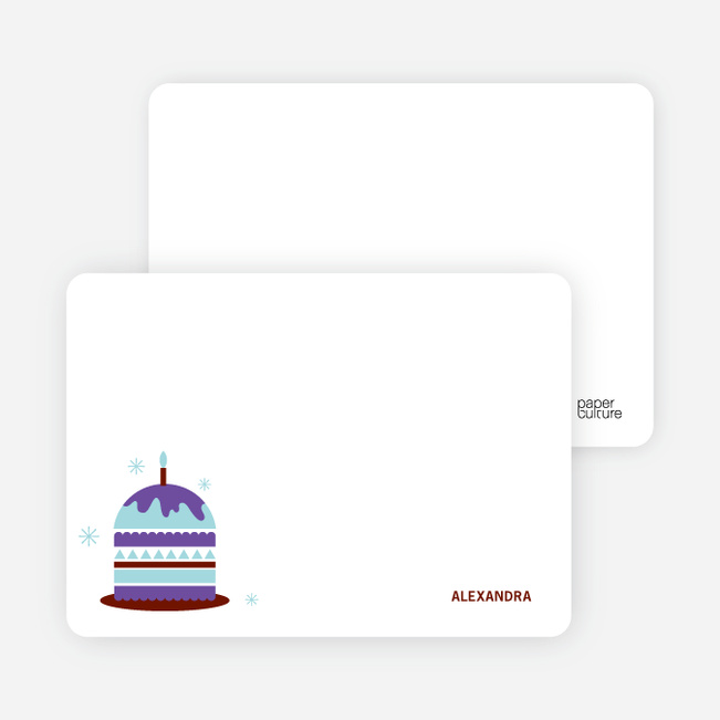 Stationery: 'Modern Birthday Cake Invitation' cards. - Violet