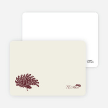 Peacock Bridal Shower Note Cards - Burgundy
