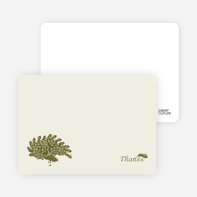 Stationery: 'Peacock Bridal Shower' cards. - Olive Green