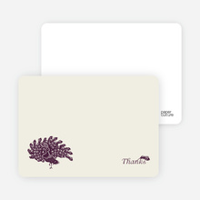 Peacock Bridal Shower Note Cards - Plum